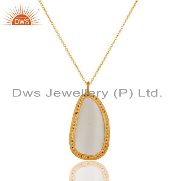 Exporter Gold Plated Prong Set White Moonstone Sterling Silver Pendant Necklace