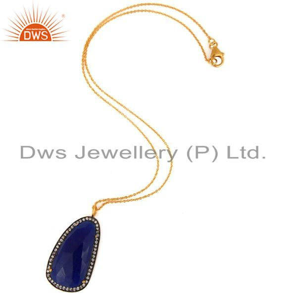 Exporter Gold Plated Sterling Silver Blue Aventurine Gemstone Pendant 16