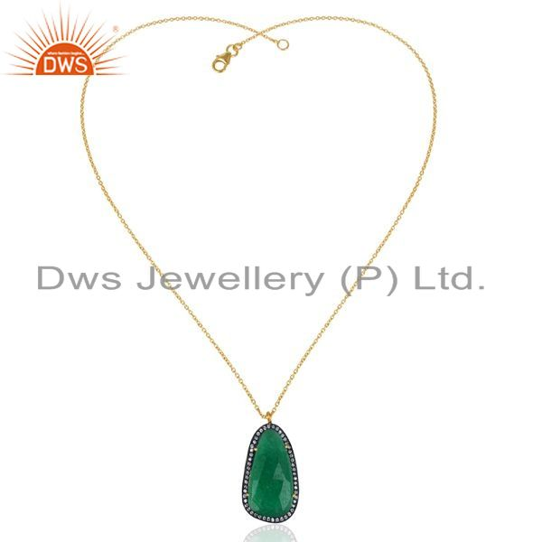 Exporter 14k Gold Plated 925 Sterling Silver Green Aventurine CZ Gemstone Chain Pendant