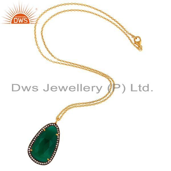 Exporter 18k Gold Plated 925 Sterling Silver Green Onyx Gemstone Pendant With Zircon