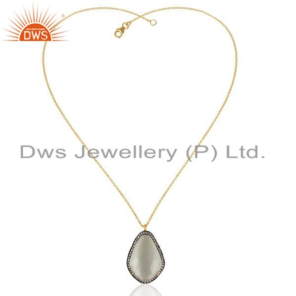 Exporter 14K Gold Plated 925 Sterling Silver Moonstone CZ Chain Pendant Jewelry