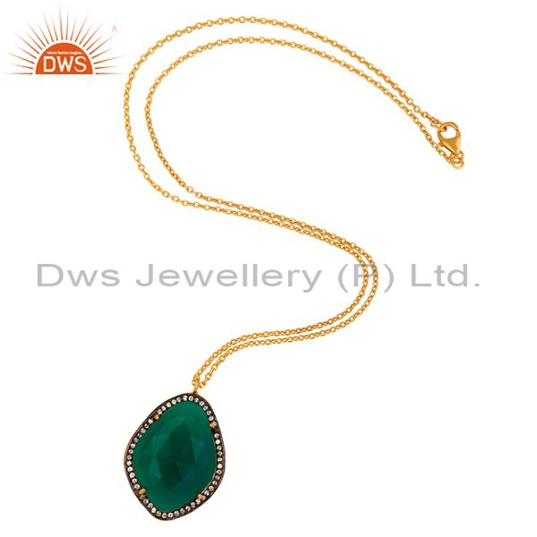 Exporter 925 Sterling Silver Green Onyx Gemstone Gold Plated Pendant Necklace With CZ