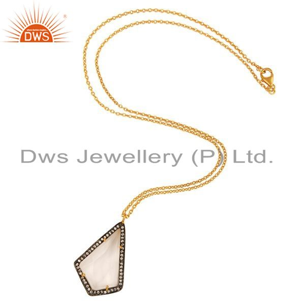 Exporter Natural Clear Quartz Crystal Prong Setting Pendant Necklace - Gold Plated Silver