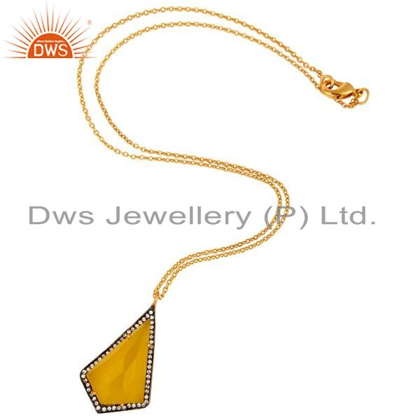 Exporter Sterling Silver With Gold Plated Moonstone Designer Pendant Necklace 16