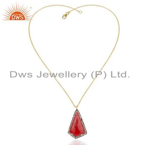 Exporter 14K Gold Plated 925 Sterling Silver Red Aventurine CZ Chain Pendant Jewelry