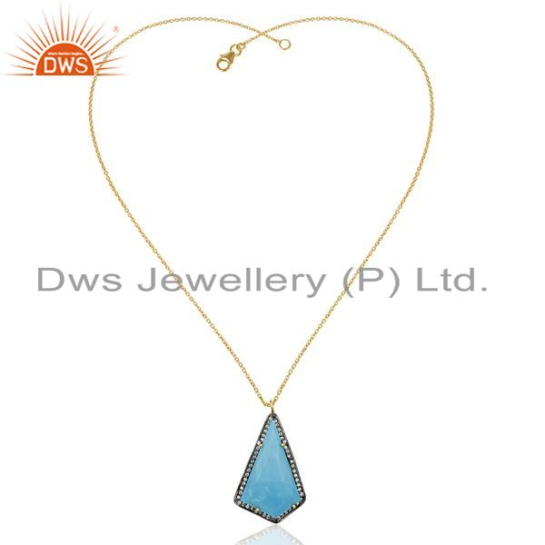 Exporter 14K Gold Plated 925 Sterling Silver Turquoise CZ Gemstone Chain Pendant Jewelry