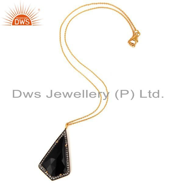Exporter Black Onyx Faceted Gemstone Prong Set Gold Plated Sterling Silver Pendant 16