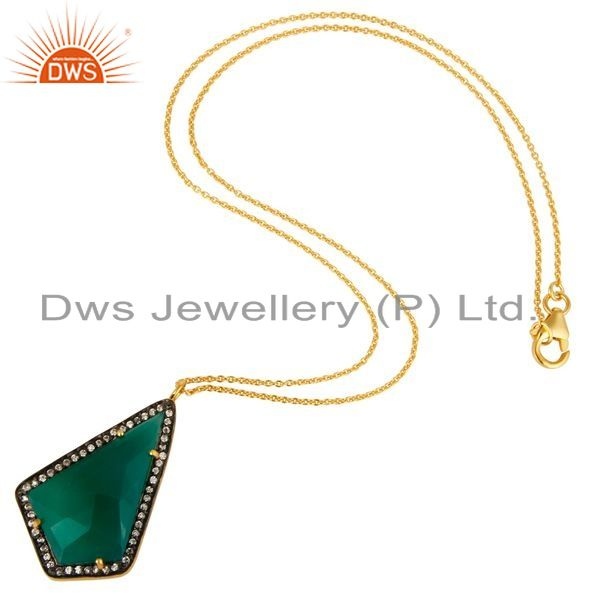 Exporter 14K Yellow Gold Plated Sterling Silver Green Onyx And CZ Pendant With Chain