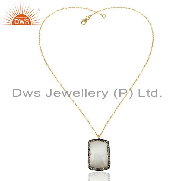 Exporter 14K Gold Plated 925 Sterling Silver Moonstone CZ Gemstone Chain Pendant