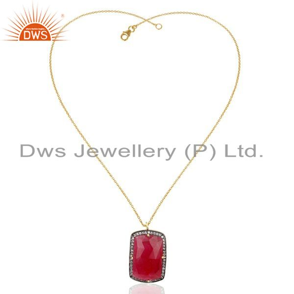 Exporter 14K Gold Plated 925 Sterling Silver Red Aventurine CZ Gemstone Chain Pendant