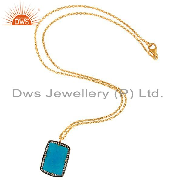 Exporter Prong Set Created Turquoise Gemstone Pendant in Sterling Silver With Gold Plated