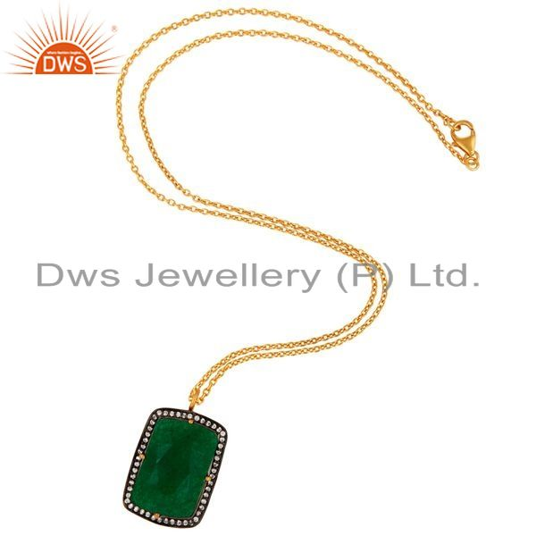 Exporter Green Aventurine Gemstone 18K Gold Plated 925 Sterling Silver Pendant With CZ
