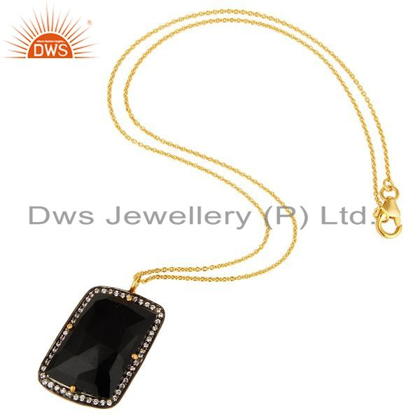 Exporter 18K Yellow Gold Plated Sterling Silver Black Onyx And CZ Pendant With Chain