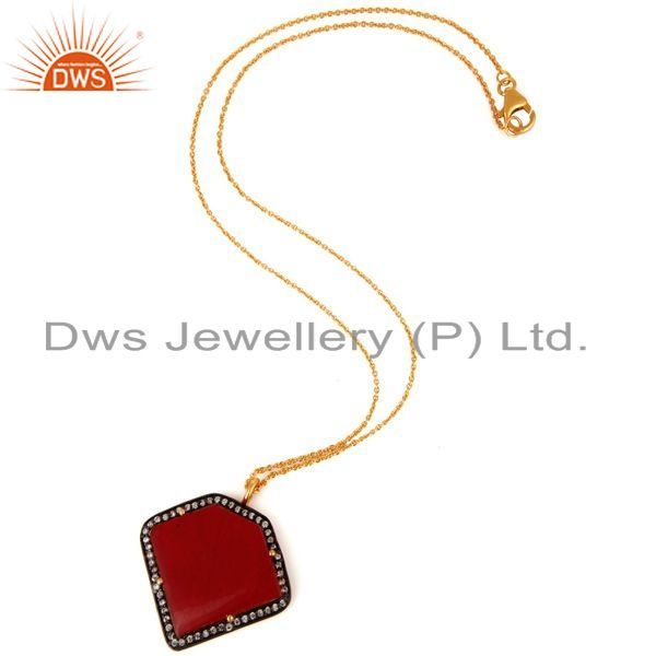 Exporter Sterling Silver With Gold Plated Red Aventurine Gemstone Designer Pendant Chain