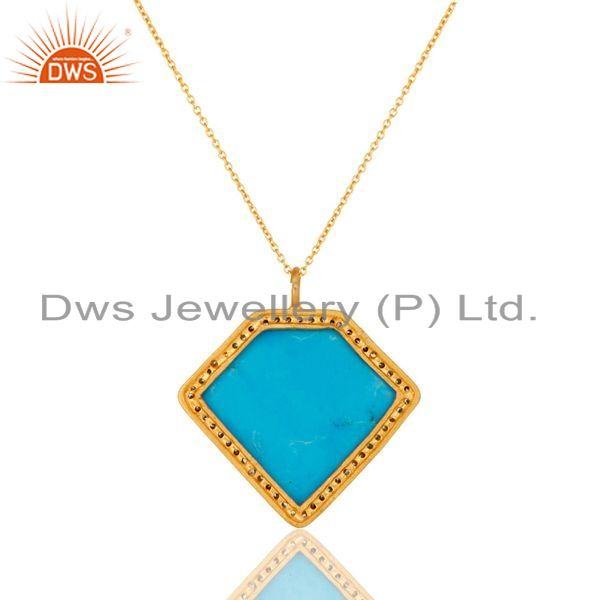 Exporter Sterling Silver With Gold Plated Turquoise Cultured Designer Pendant Chain