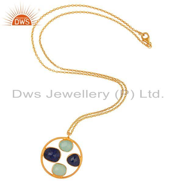 Exporter Handmade Gold Plated 925 Silver Multi Gemstone Chain Pendant Supplier