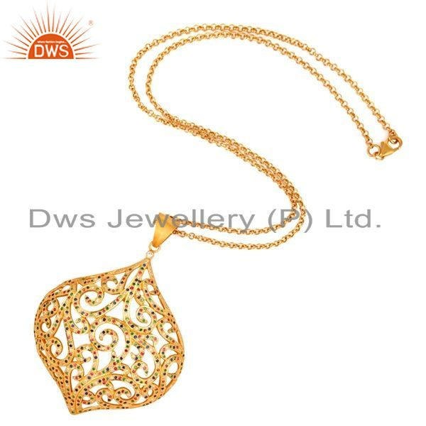 Exporter Gold Plated Sterling Silver Multicolor Cubic Zirconia Designer Pendant Necklace