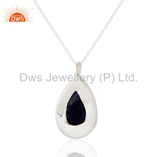 Exporter Natural Tanzanite Gemstone Bezel- Set 925 Sterling Silver Drop Pendant Necklace