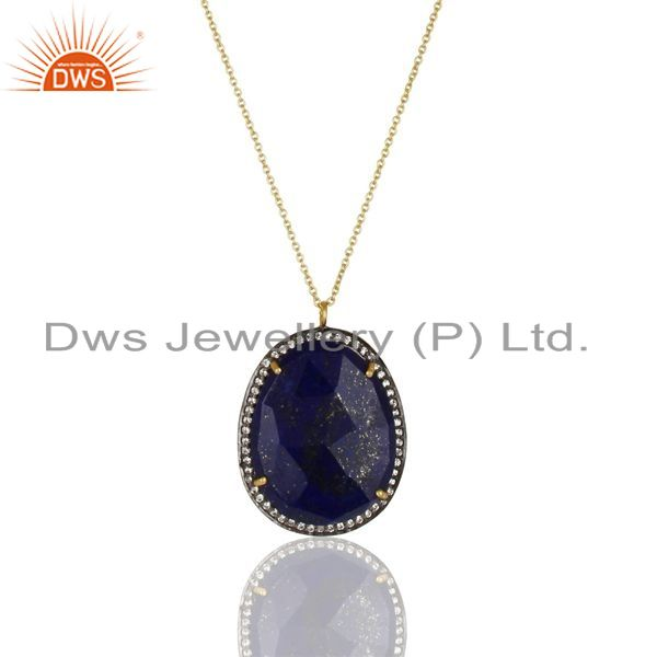 Exporter 14K Gold Plated 925 Sterling Silver Lapis Lazuli White Zircon Chain Pendant