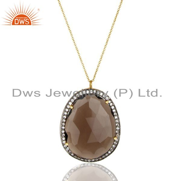 Exporter 14K Gold Plated 925 Sterling Silver Smokey White Zircon Prong Set Chain Pendant