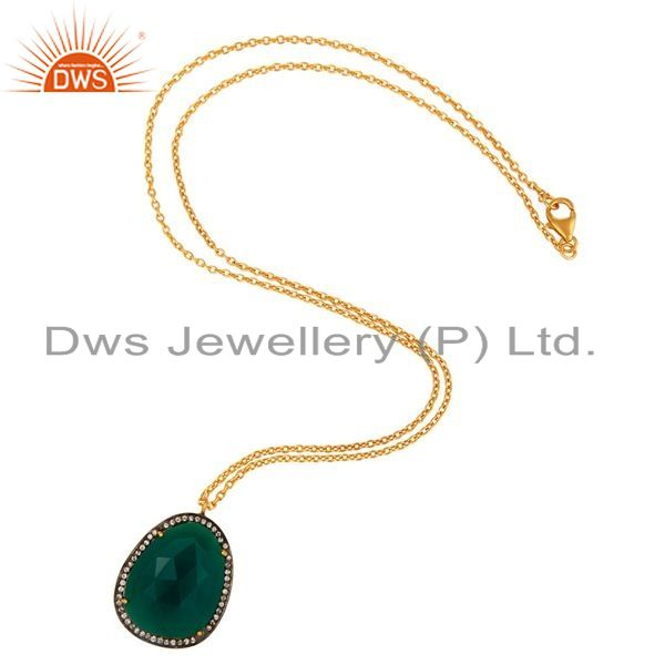 Exporter Prong Set Green Onyx Gemstone Pendant Necklace - Sterling Silver Gold Plated