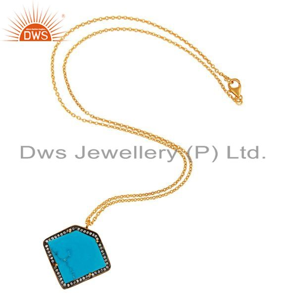 Exporter 18K Gold Plated Sterling Silver Turquoise Gemstone Pendant Necklace