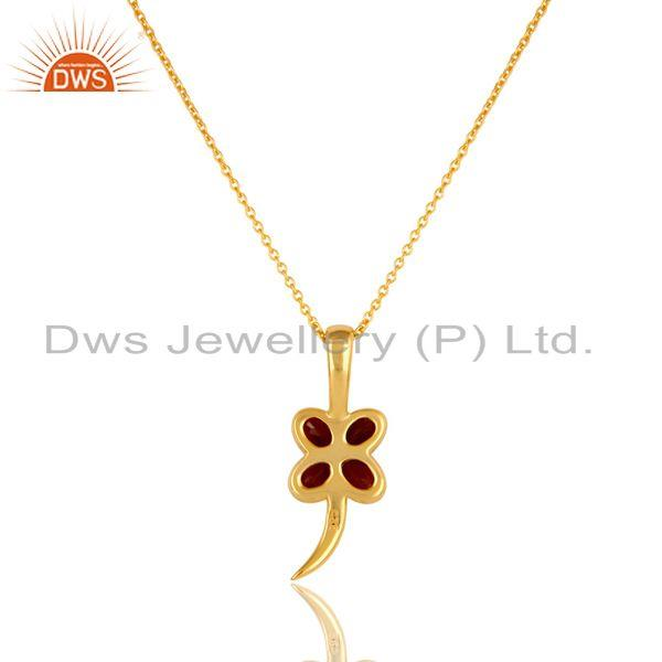 Exporter 14K Yellow Gold Plated Sterling Silver Garnet Gemstone Flower Pendant With Chain