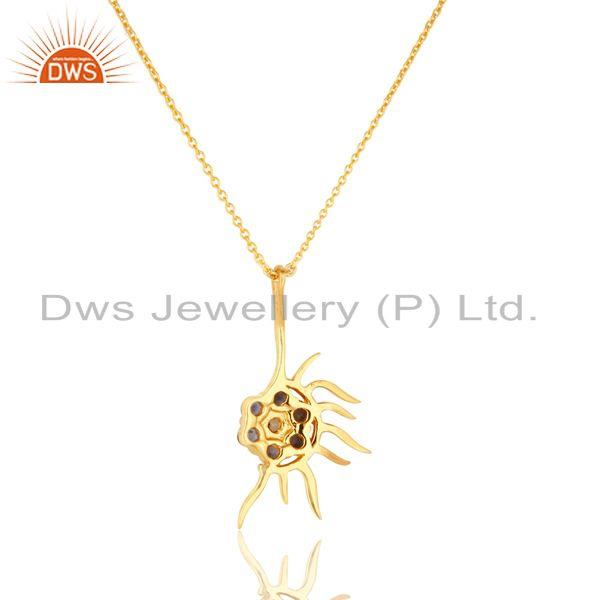 Exporter 18K Gold Plated Sterling Silver Iolite And White Topaz Designer Pendant Necklace