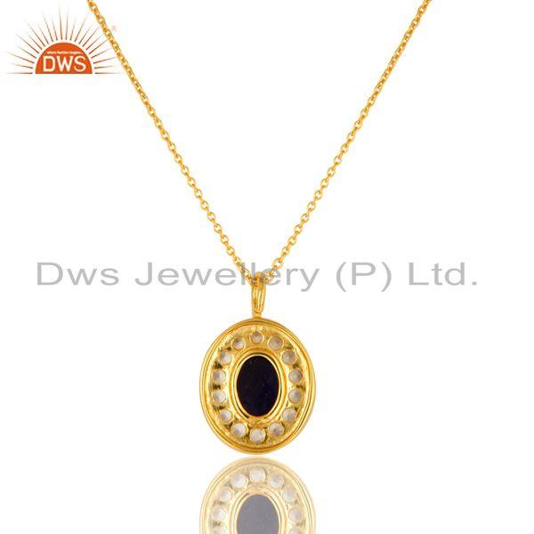 Exporter 14K Yellow Gold Plated Sterling Silver Iolite And White Topaz Pendant With Chain