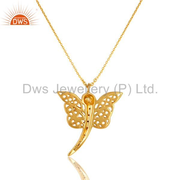 Exporter 14K Gold Plated Sterling Silver White Topaz Butterfly Designer Pendant Necklace