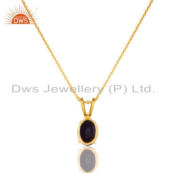 Exporter 18K Yellow Gold Plated Sterling Silver Iolite Gemstone Pendant With Chain