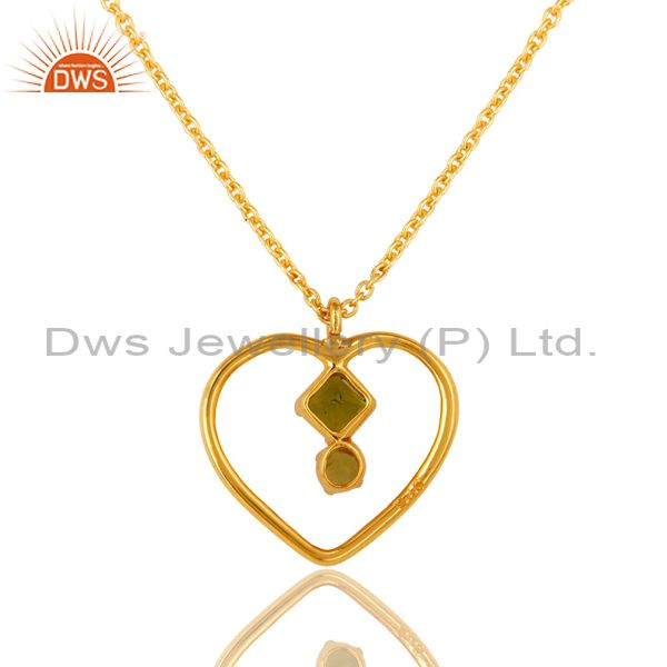 Exporter 18K Gold Over Sterling Silver Peridot Gemstone Heart Pendant Necklace