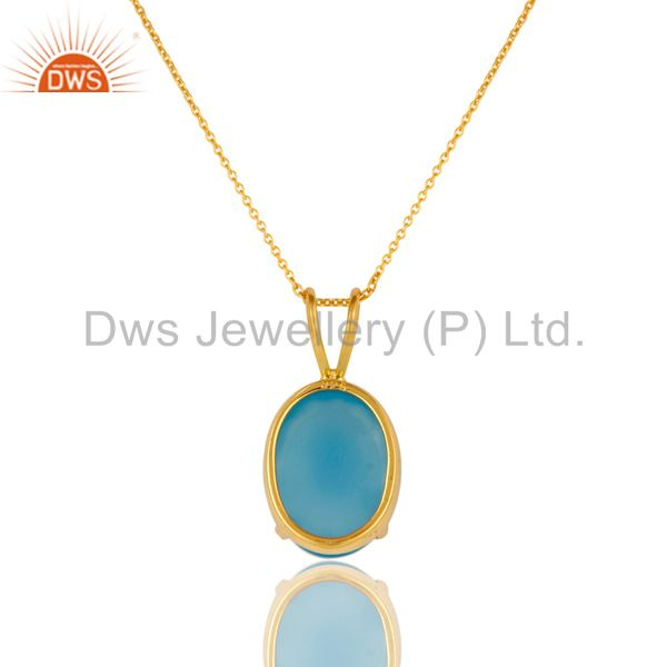 Exporter 14K Yellow Gold Plated Sterling Silver Aqua Blue Chalcedony Pendant With Chain