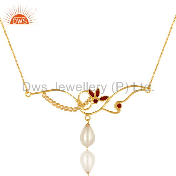 Exporter 14K Yellow Gold Plated Sterling Silver Garnet, Pearl And White Topaz Necklace