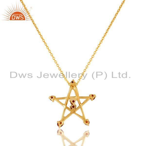 Exporter 18K Gold Plated Sterling Silver Garnet Star Of David Pendant With Chain