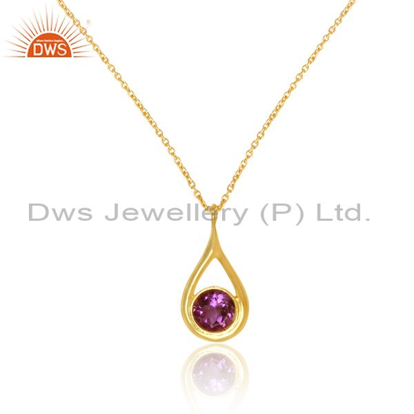 Exporter 14K Yellow Gold Plated Sterling Silver Amethyst Gemstone Drop Pendant With Chain