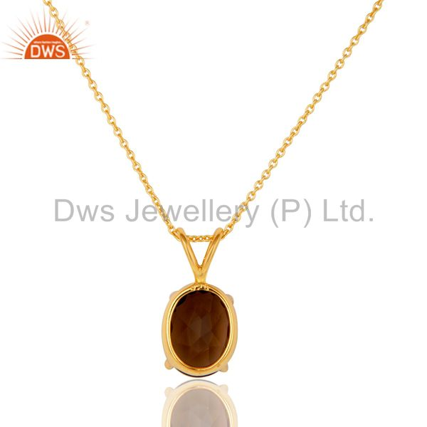 Exporter 925 Sterling Silver Smoky Quartz Prong-Set Gemstone Pendant With Chain