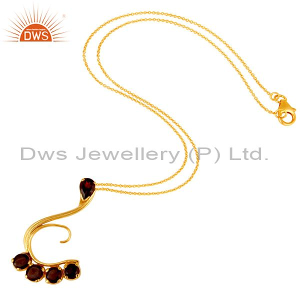 Exporter 14K Yellow Gold Plated Sterling Silver Garnet Designer Pendant With Chain