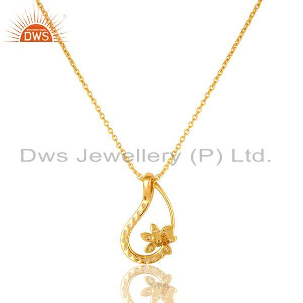 Exporter 18K Gold Plated Sterling Silver Peridot And White Topaz Flower Pendant Necklace
