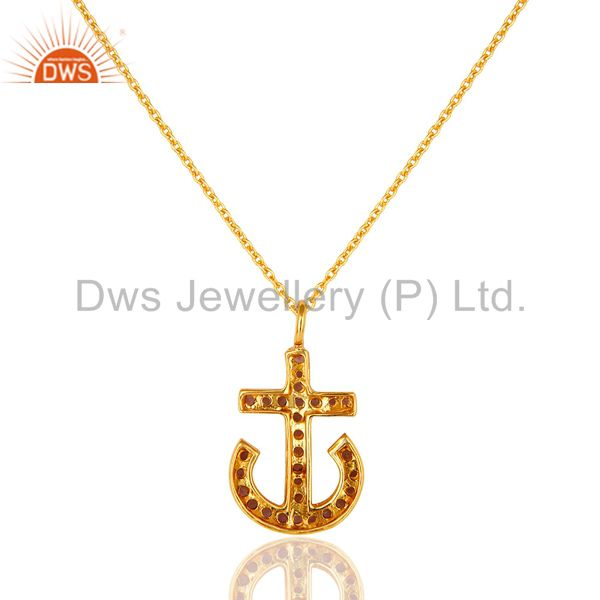 Exporter 18K Gold Plated Sterling Silver Amethyst Gemstone Anchor Sign Pendant With Chain