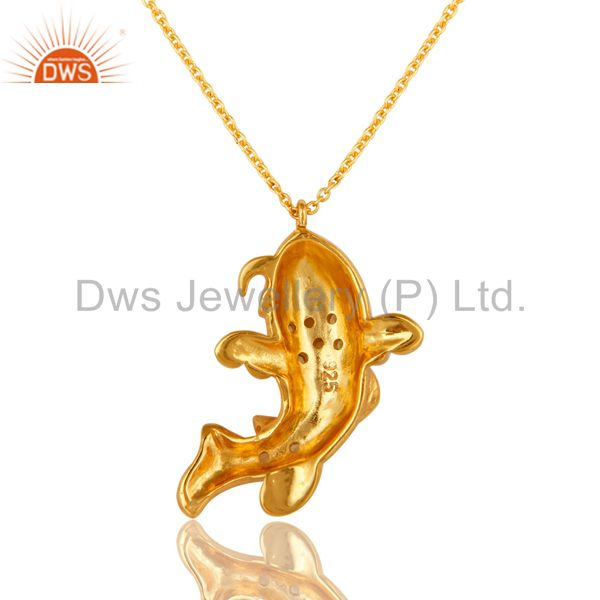 Exporter 18K Gold On Sterling Silver White Topaz And Peridot Dolphin Pendant with Chain