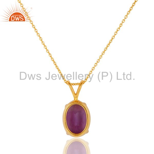 Exporter Natural Amethyst 18K Gold Plated Sterling SIlver Prong Set Pendant Necklace