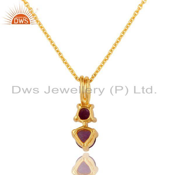 Exporter 18K Gold Over Sterling Silver Amethyst Gemstone Pendant With 16