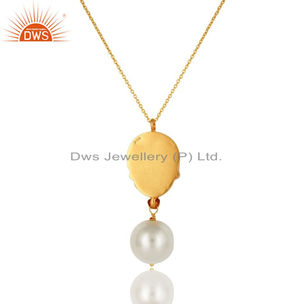 Exporter 18K Yellow Gold Plated Sterling Silver Pearl And CZ Peacock Pendant With Chain