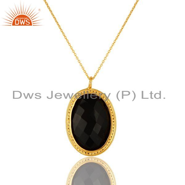 Exporter 14K Yellow Gold Plated Sterling Silver CZ And Black Onyx Pendant With 16