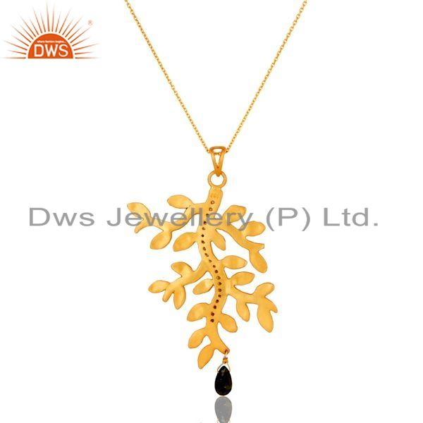 Exporter 22K Gold Plated Sterling Silver Multi Tourmaline And CZ Leaf Pendant With Chain
