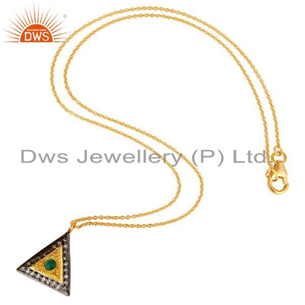 Exporter Shiny 14K Yellow Gold Plated Sterling Silver Green Onyx & CZ Pendant With Chain