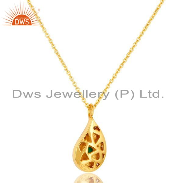 Exporter 14K Gold Plated Sterling Silver Green Onyx And CZ Teardrop Pendant With Chain