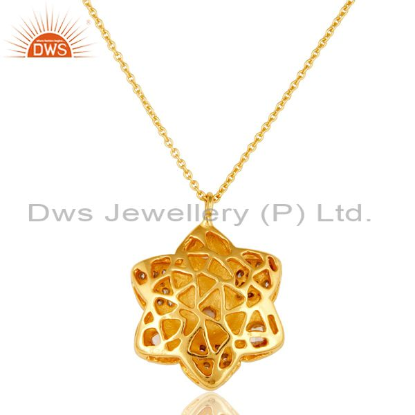 Exporter 14K Yellow Gold Plated Sterling Silver Cubic Zirconia Flower Pendant With Chain