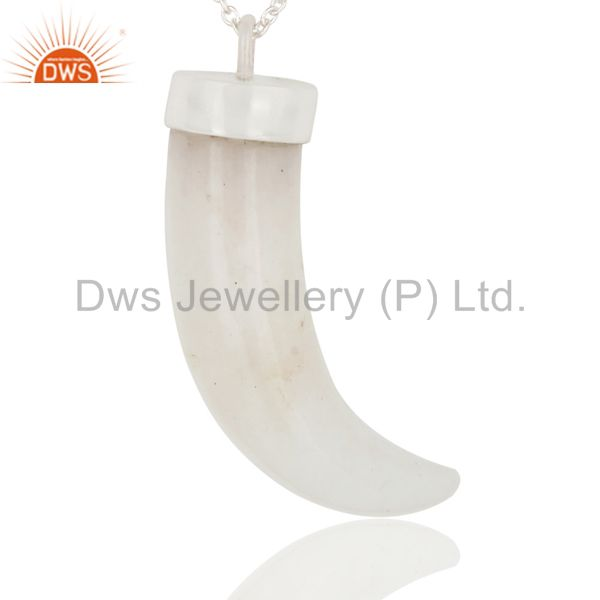 Exporter Handmade Sterling Silver White Agate Gemstone Ox Horn Pendant With Chain
